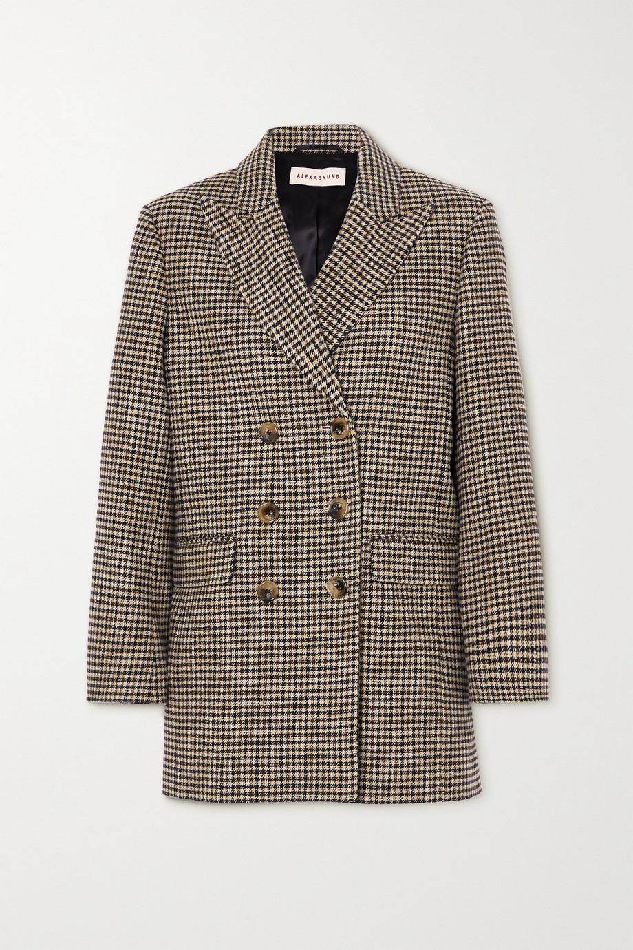 ALEXACHUNG Jerry 双排扣千鸟格棉质混纺西装式外套