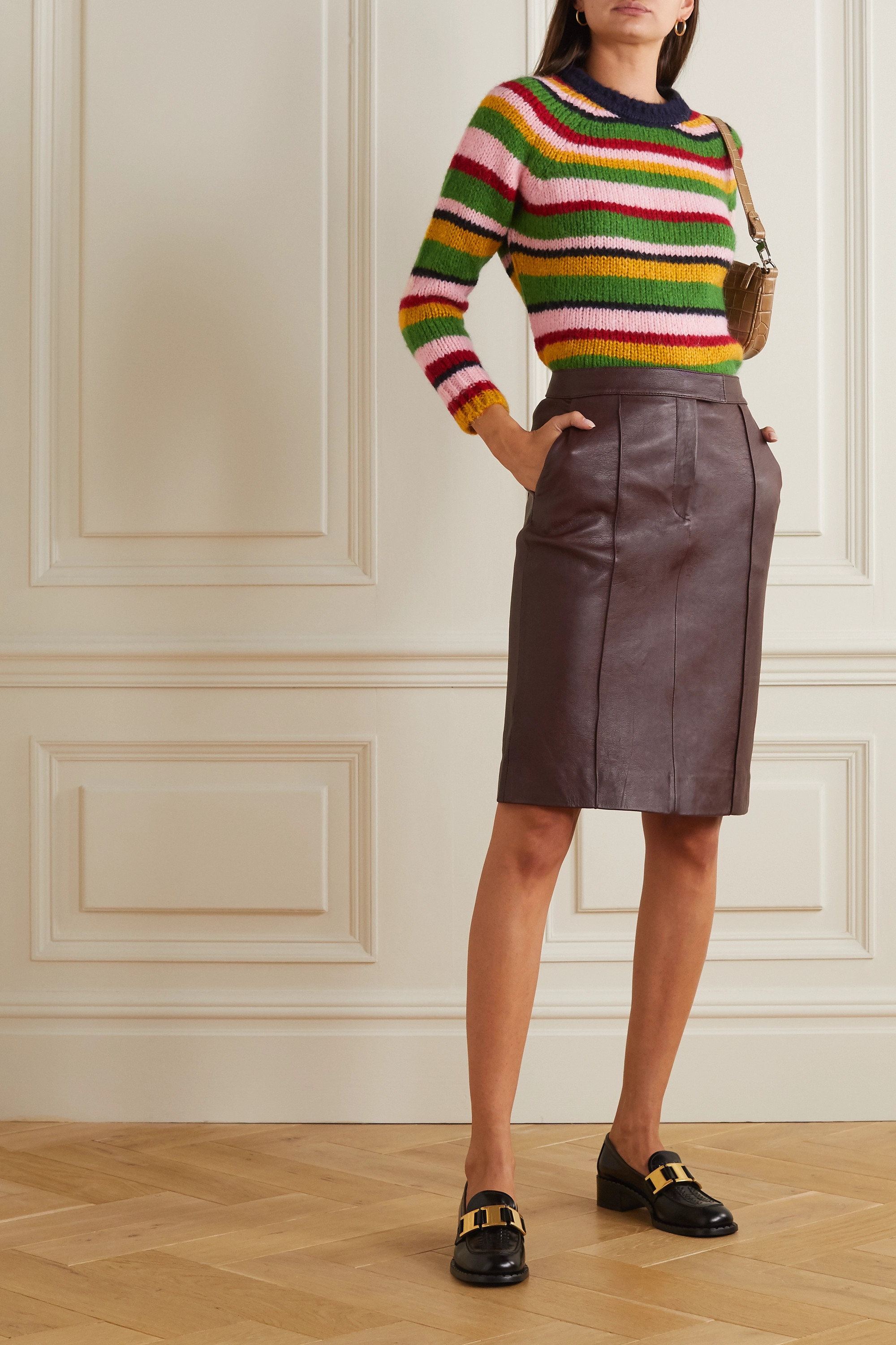 ALEXACHUNG Striped knitted sweater
