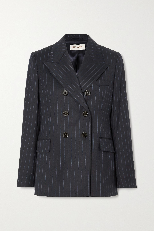ALEXACHUNG E.Vill Boy double-breasted pinstriped wool-blend blazer