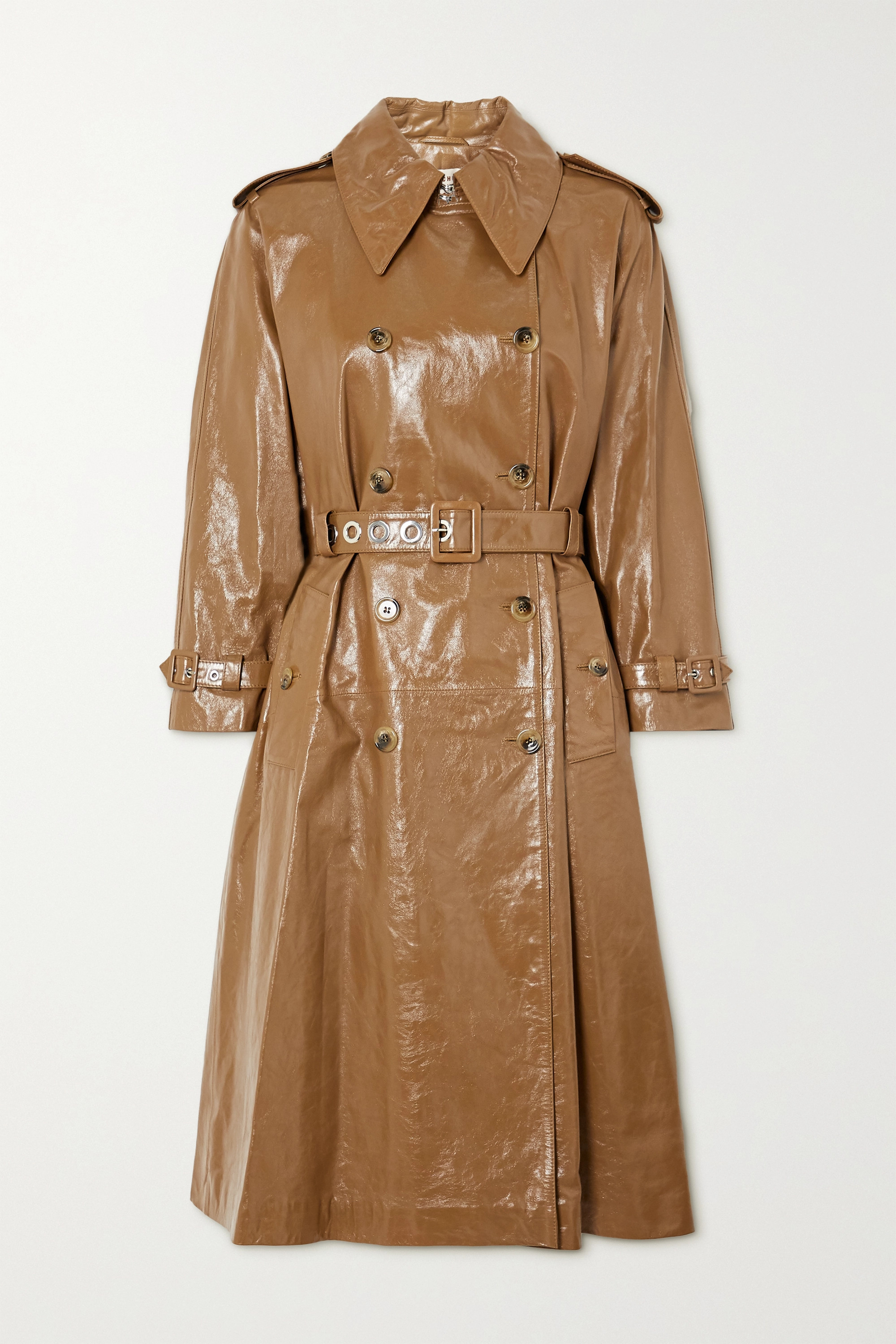 ALEXACHUNG Belted double-breasted crinkled glossed-leather trench coat
