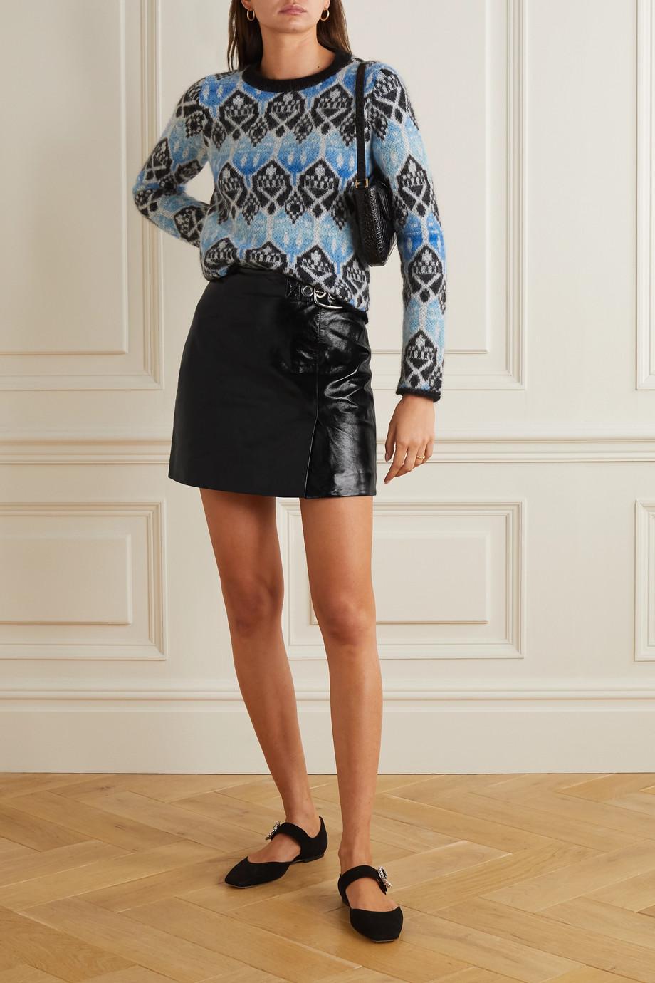 ALEXACHUNG Buckled crinkled glossed-leather mini skirt