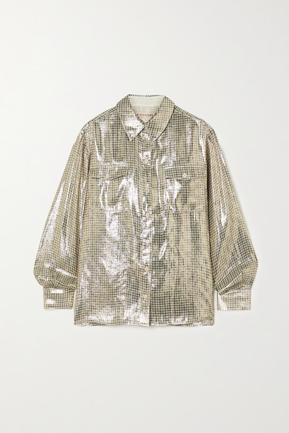 ALEXACHUNG Metallic checked silk-blend shirt