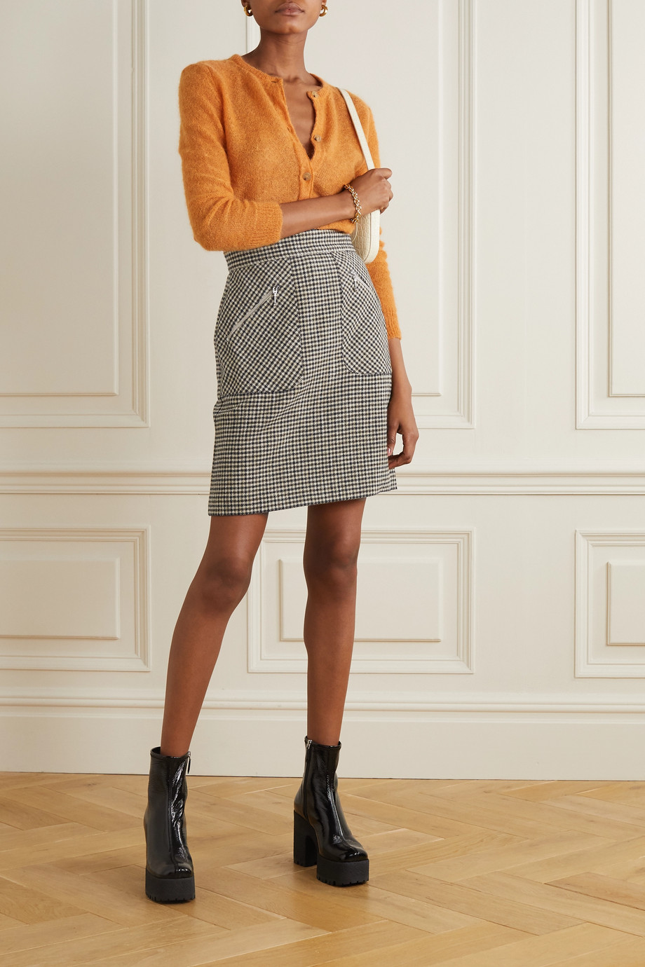 ALEXACHUNG Judy houndstooth woven mini skirt