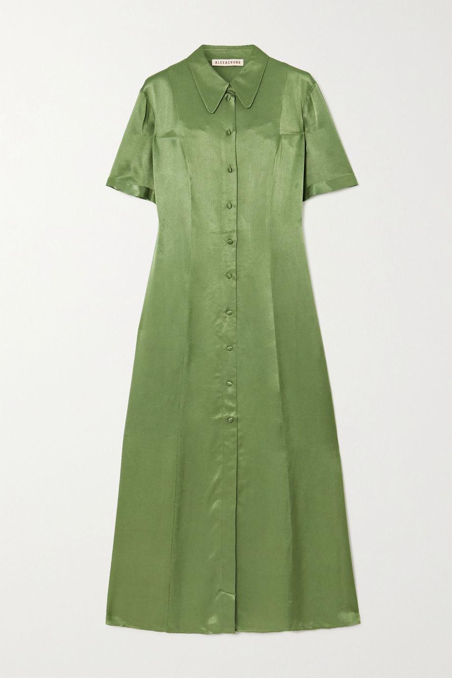 ALEXACHUNG 锤花缎中长衬衫式连衣裙