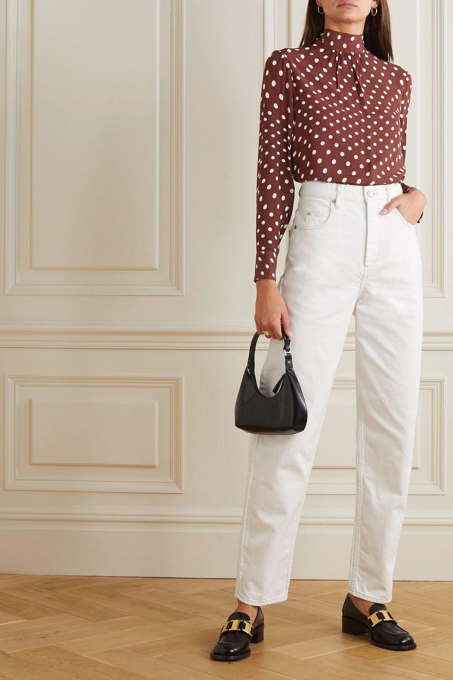 ALEXACHUNG Tie-detailed polka-dot crepe blouse