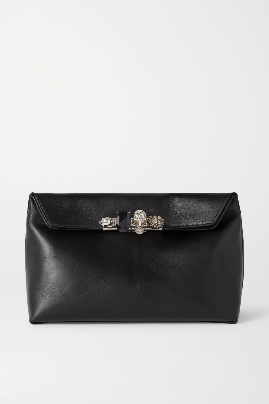 Alexander McQueen Four Ring embellished leather pouch