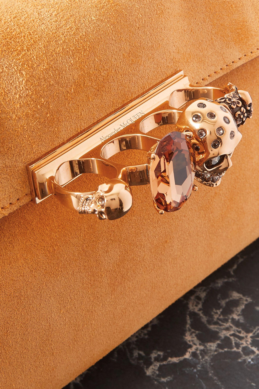 Alexander McQueen Knuckle Clutch aus Veloursleder mit Verzierung