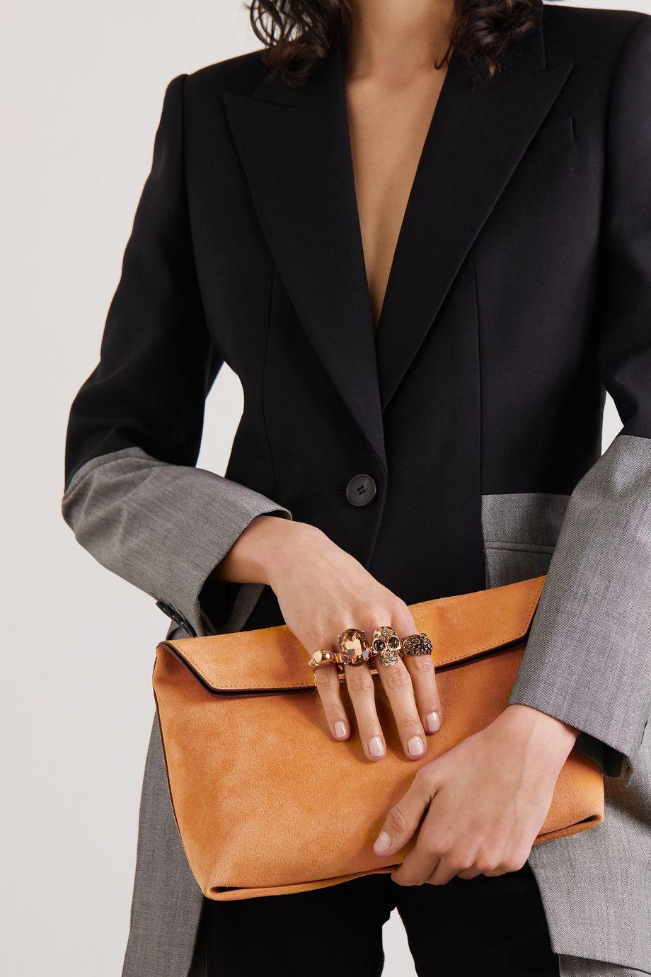 Alexander McQueen Knuckle embellished suede clutch