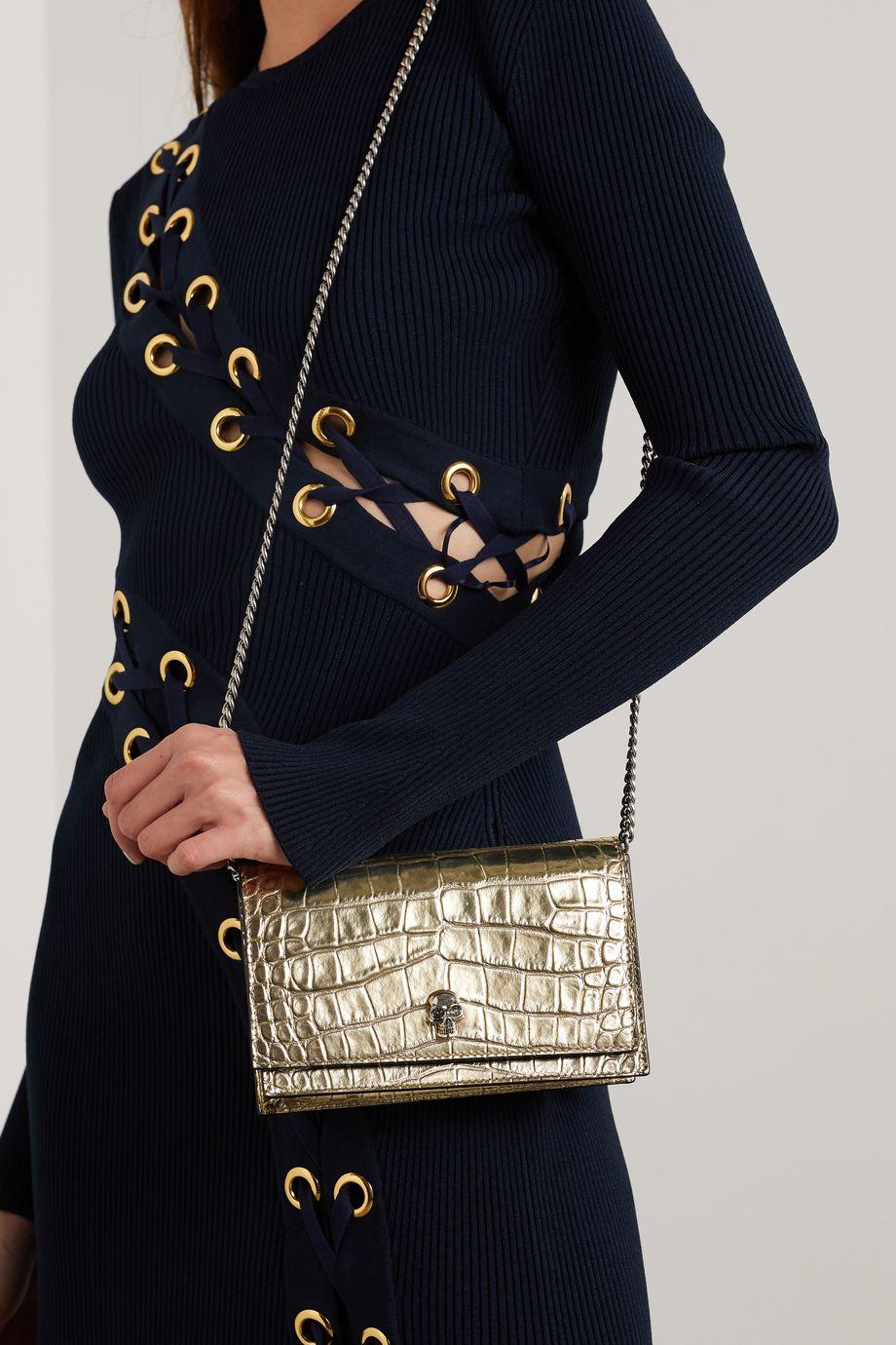 Alexander McQueen Skull croc-effect metallic leather shoulder bag