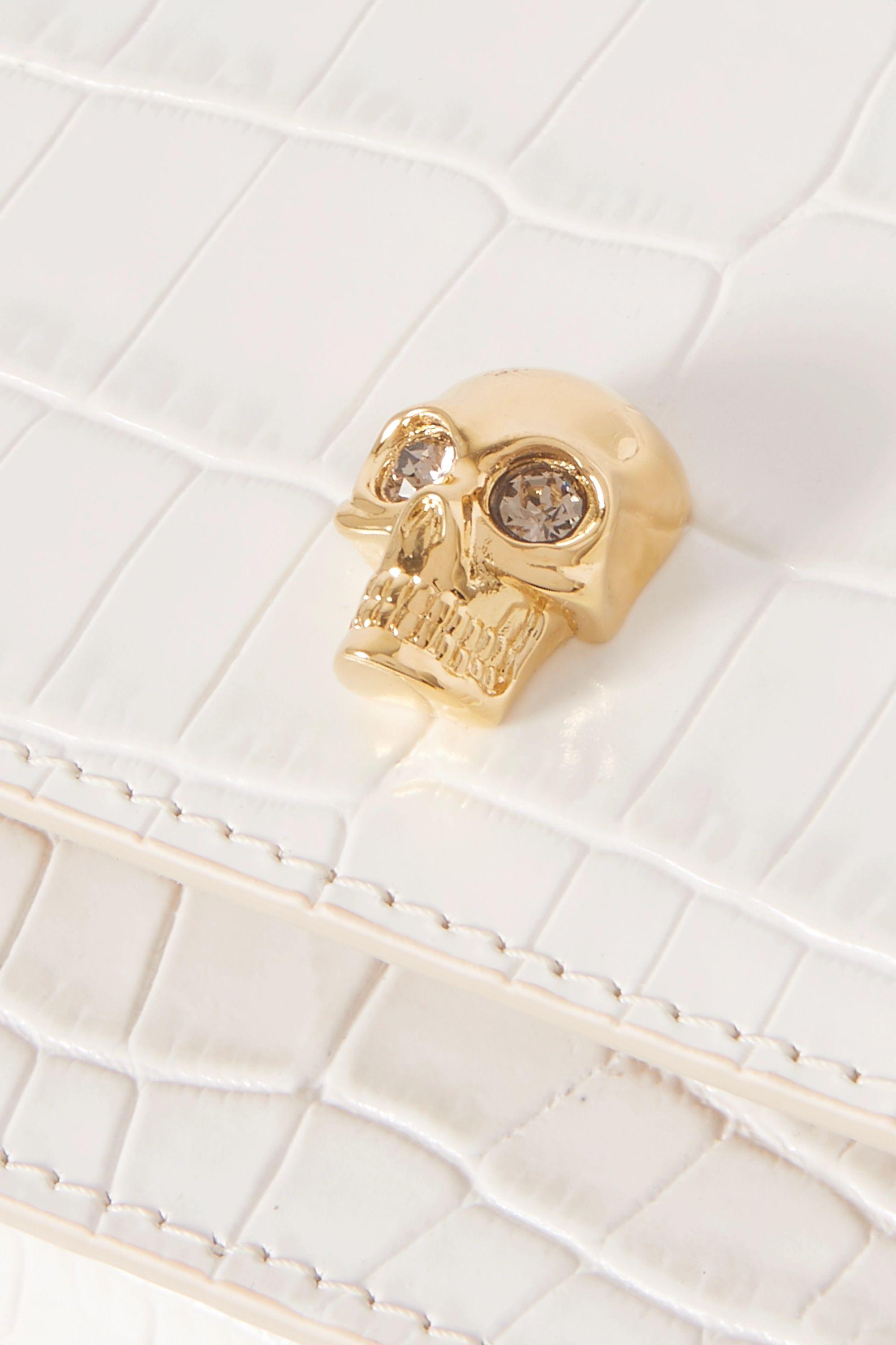 White Skull Croc-effect Leather Shoulder Bag | Alexander Mcqueen