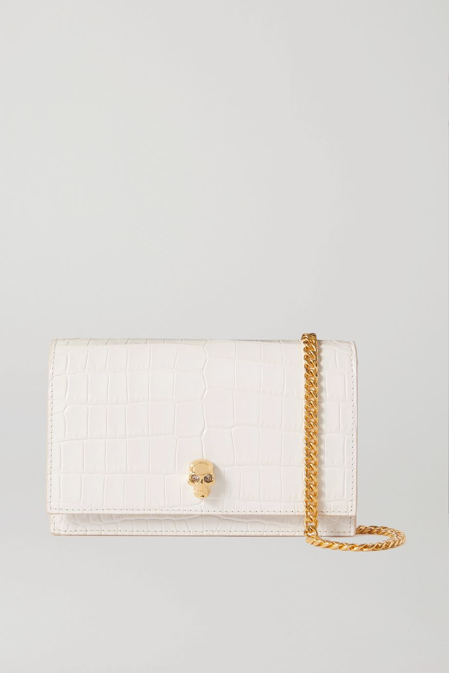Alexander McQueen Skull croc-effect leather shoulder bag