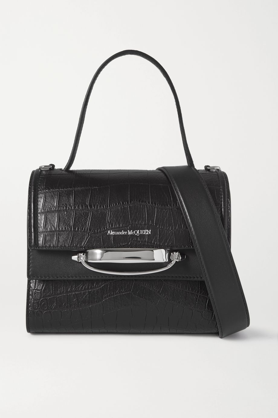 Alexander McQueen Story small croc-effect leather shoulder bag