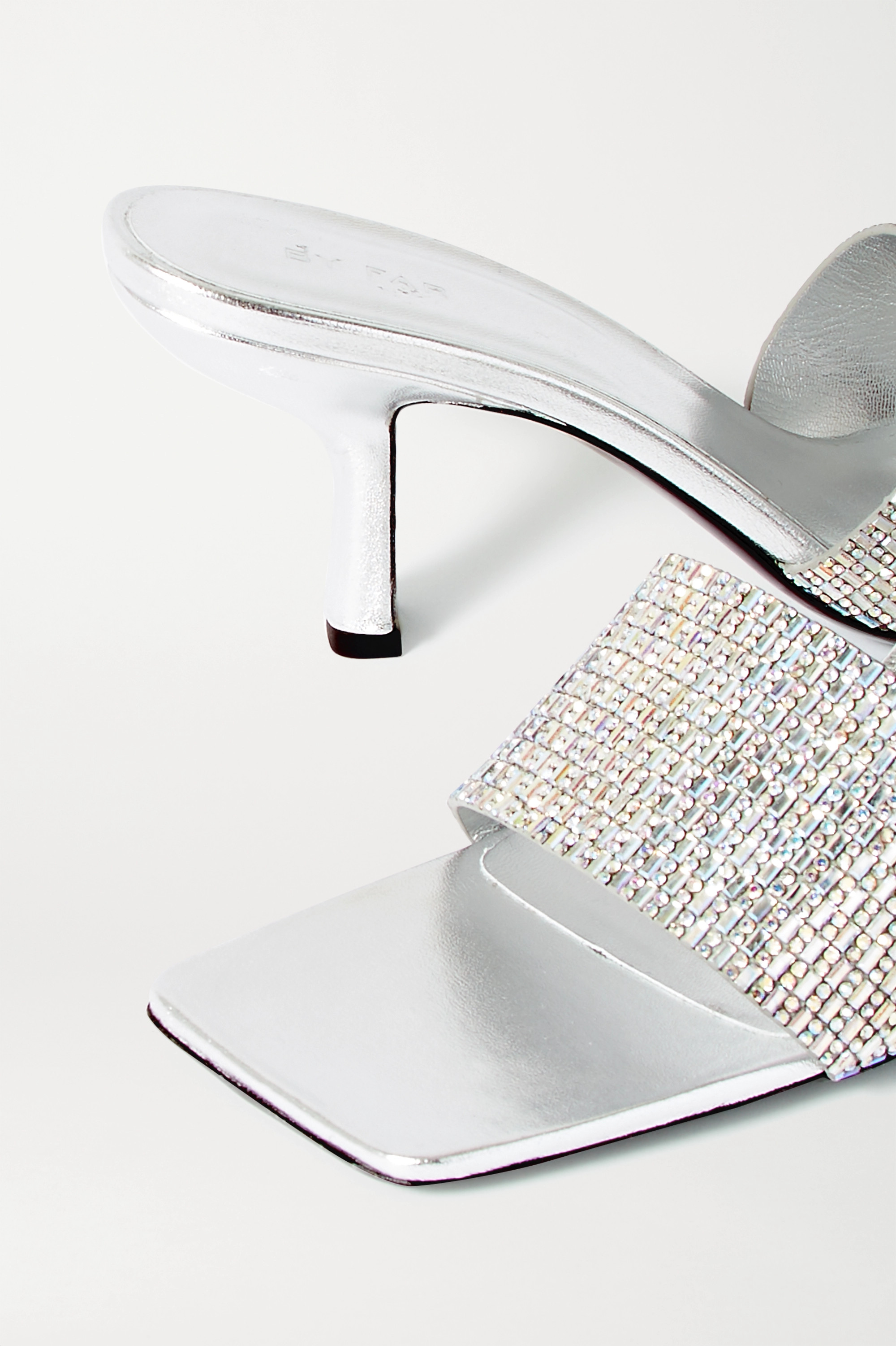 BY FAR Dylan crystal-embellished leather mules