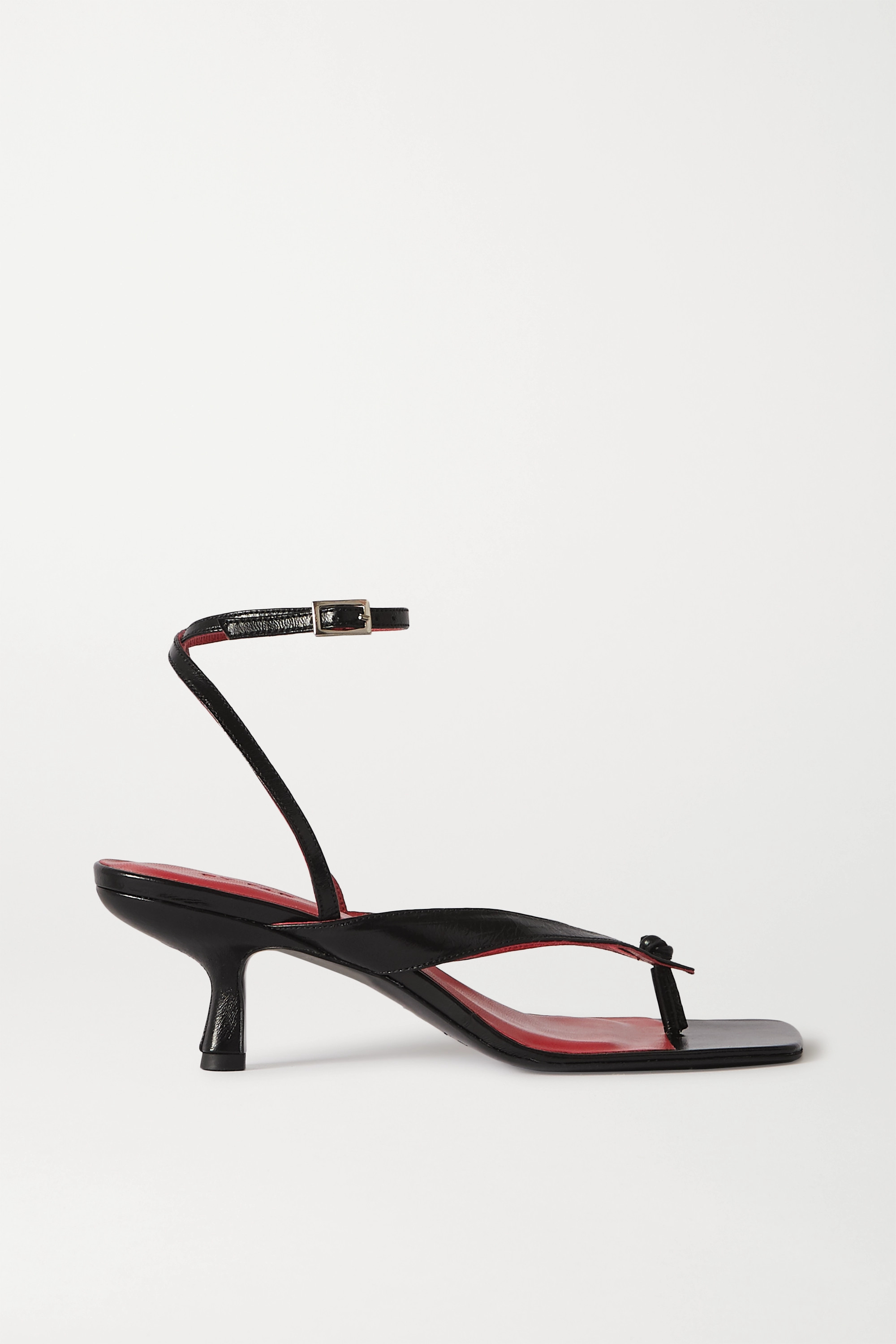 BY FAR Mindy crinkled-leather sandals