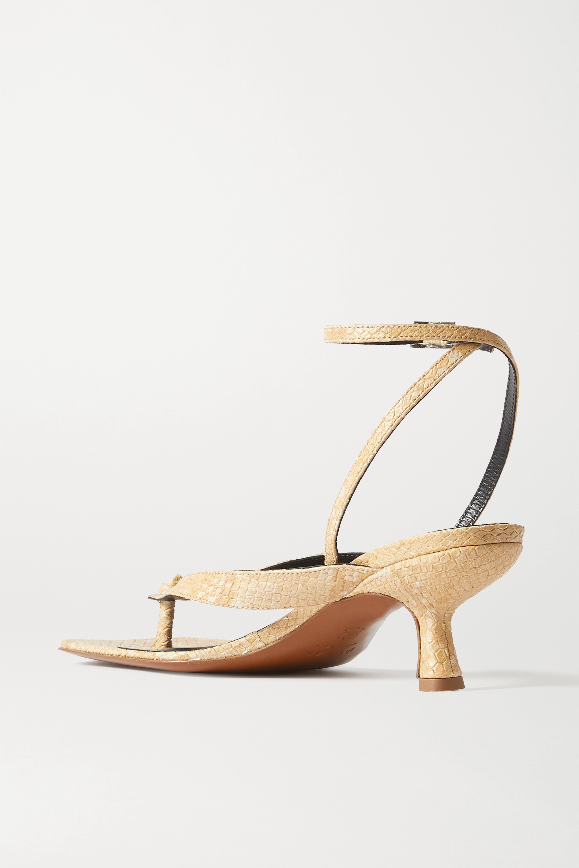 BY FAR Mindi snake-effect leather sandals