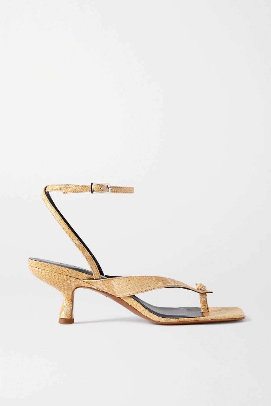 BY FAR Mindi Sandalen aus Leder mit Schlangeneffekt