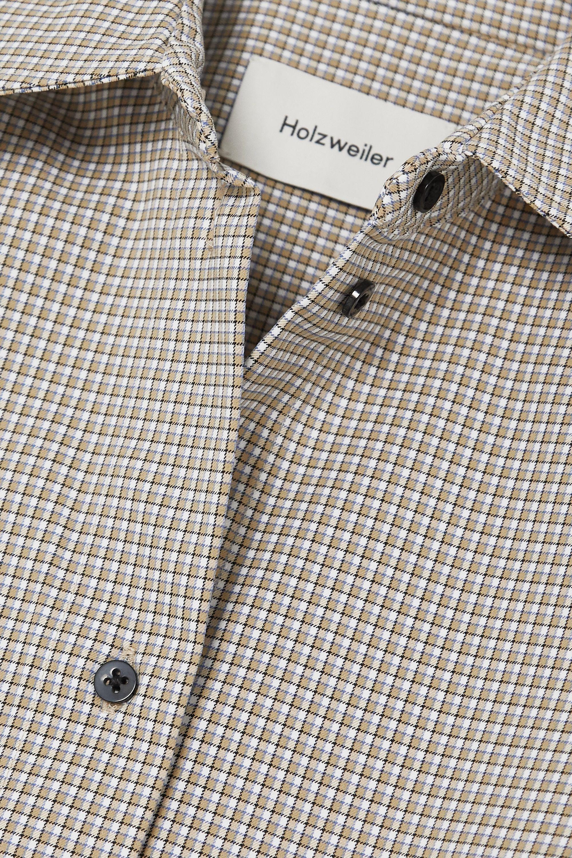 Gray Tyrifjorden Pintucked Checked Cotton-blend Shirt | Holzweiler