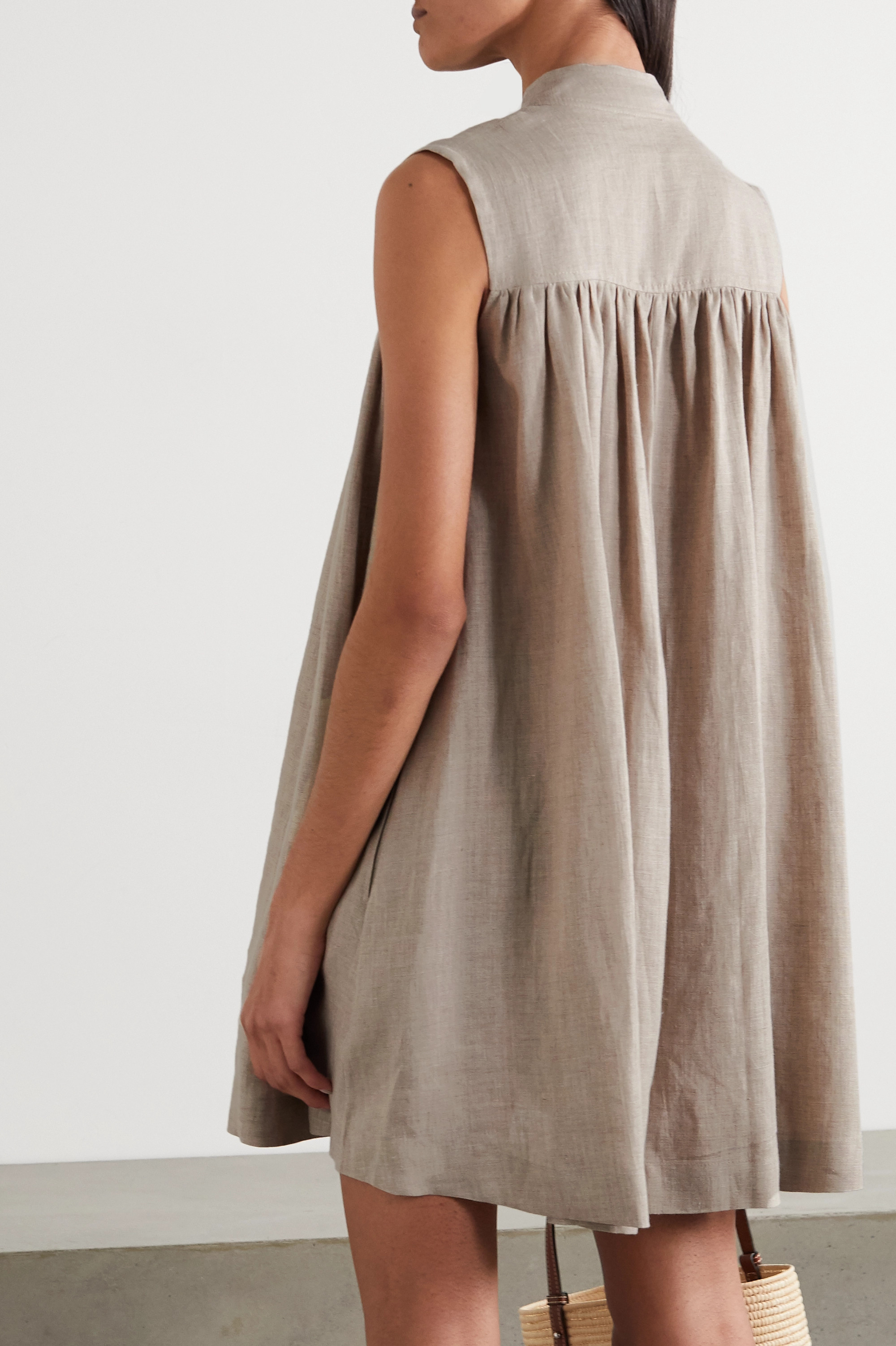 &Daughter Pleated linen dress