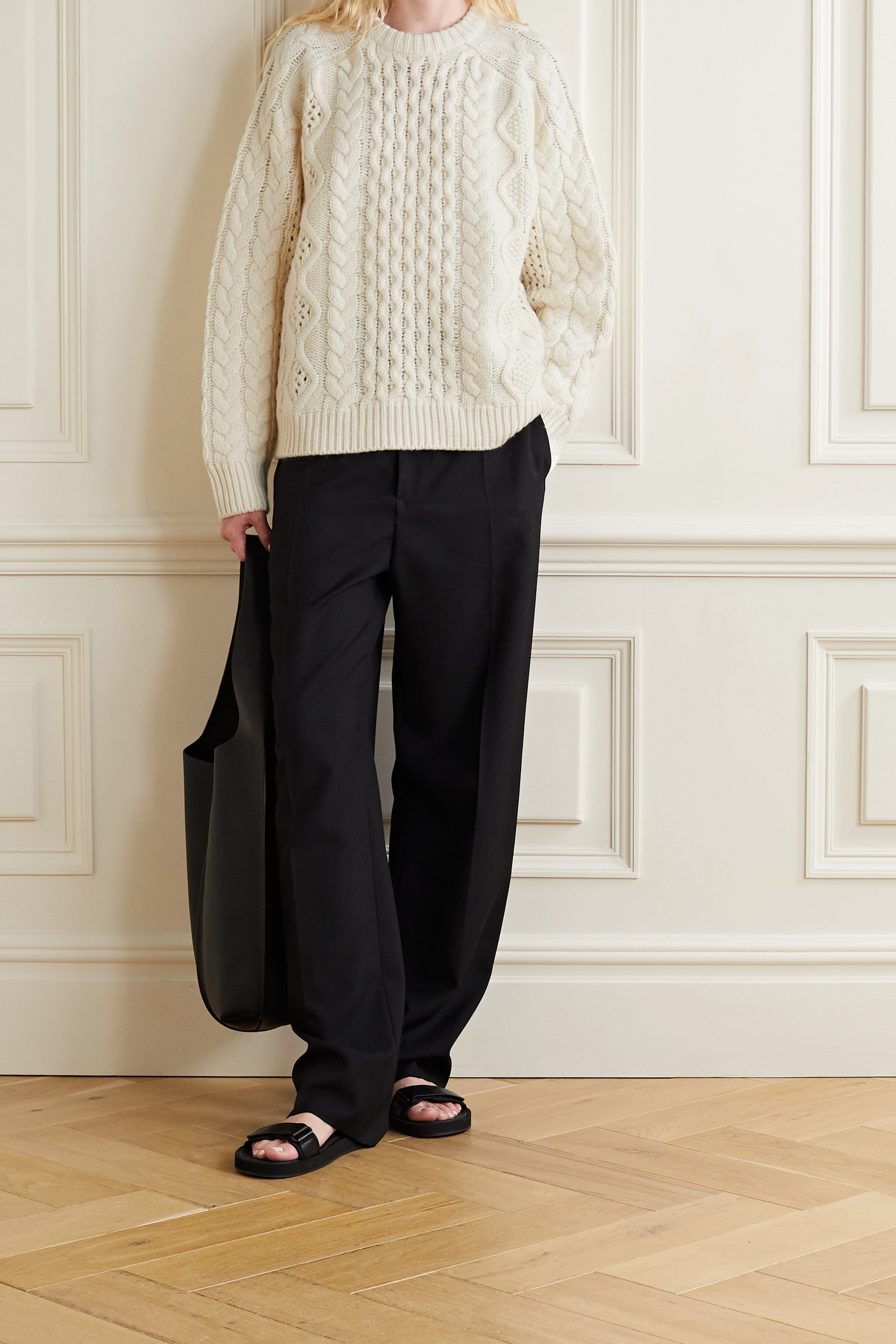 LOULOU STUDIO Cable-knit wool and cashmere-blend sweater
