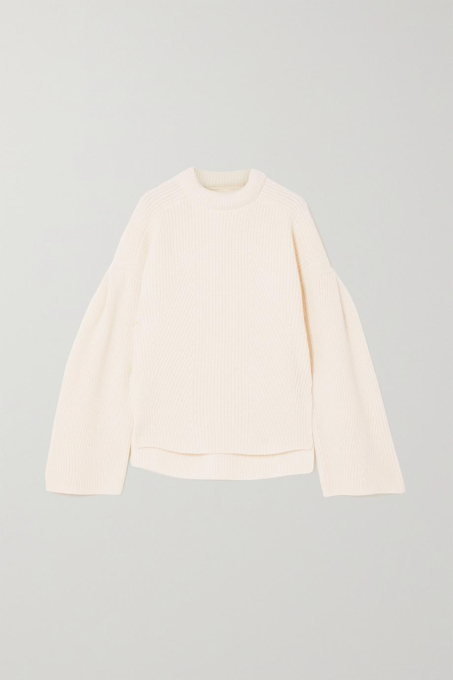 LOULOU STUDIO Gargalo Oversized-Pullover aus einer gerippten Woll-Kaschmirmischung