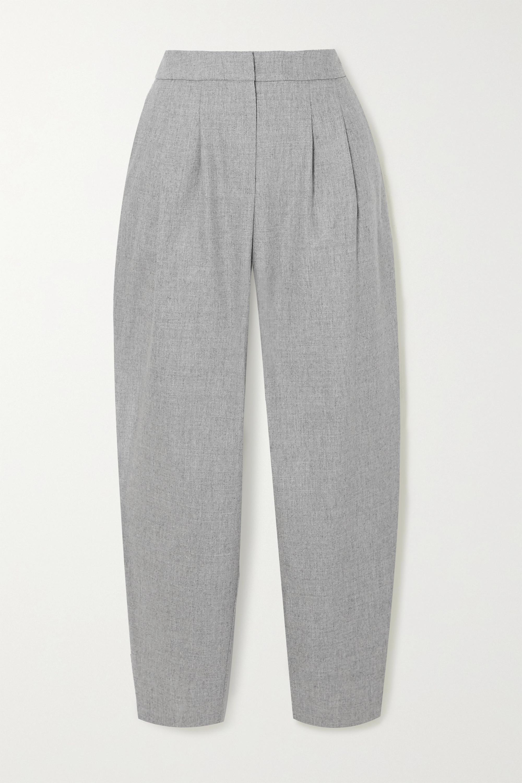 LOULOU STUDIO Pantalon fuselé en laine mélangée à plis Farina