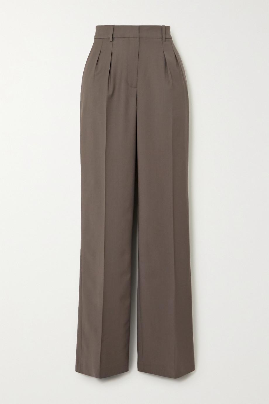 LOULOU STUDIO Sbiru pleated wool straight-leg pants