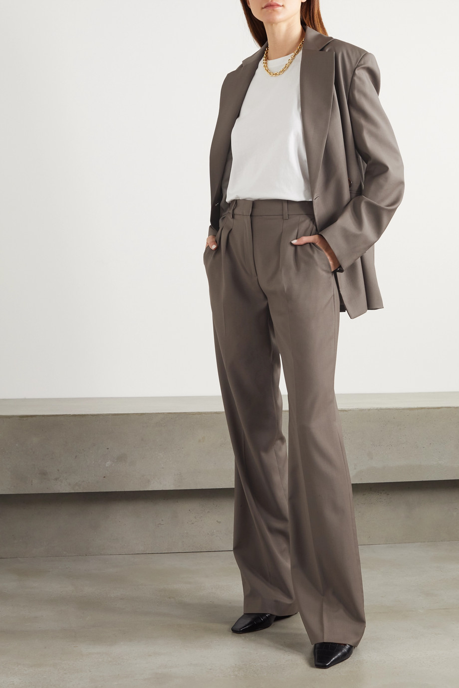 LOULOU STUDIO Pantalon droit en laine à plis Sbiru