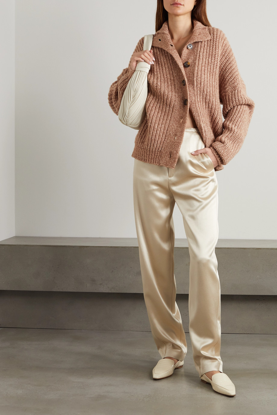 LOULOU STUDIO Canto gerippter Cardigan aus melierter Wolle
