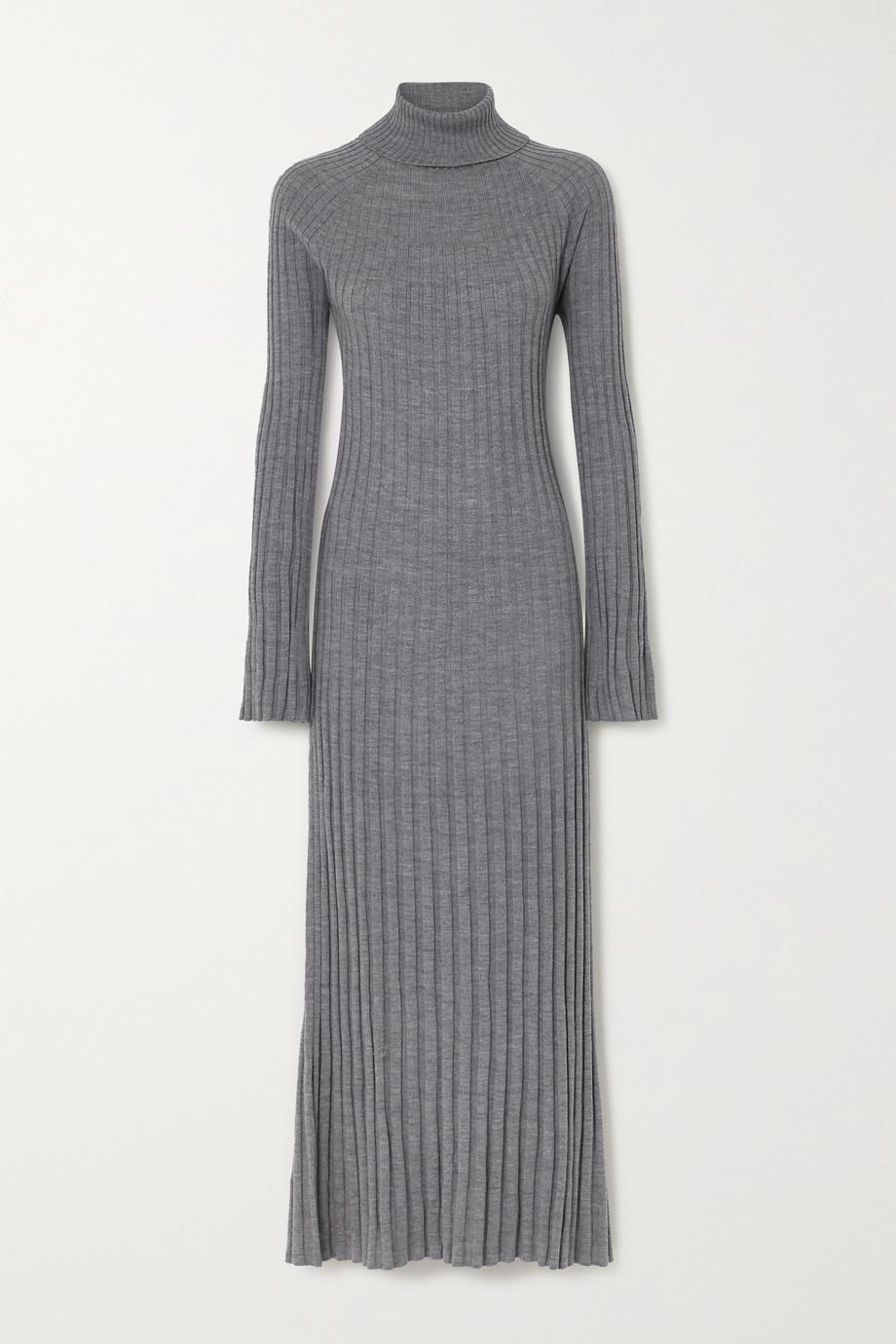 LOULOU STUDIO Robe longue à col roulé en laine côtelée