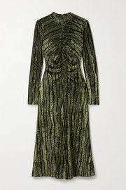 Stine Goya Asher gathered devoré-velvet midi dress