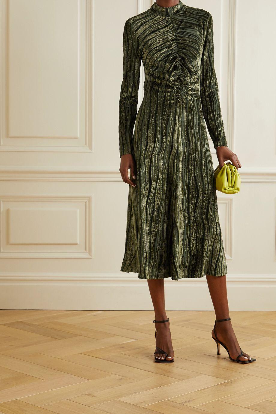 Stine Goya Asher gathered devoré-velvet midi dress