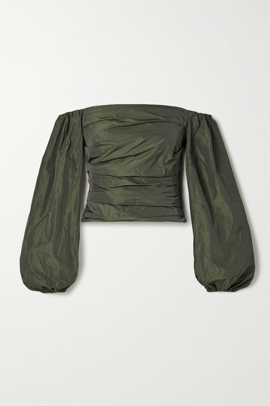 Stine Goya + NET SUSTAIN Jesy off-the-shoulder ruched taffeta blouse