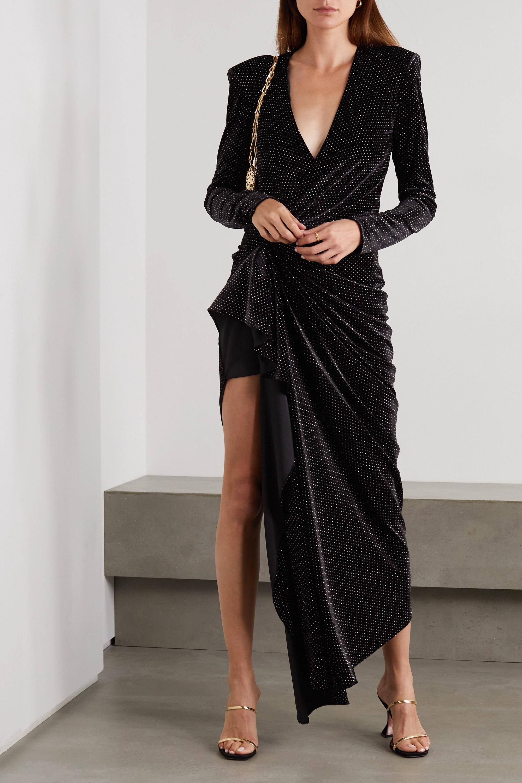 Redemption Asymmetric draped glittered velvet dress