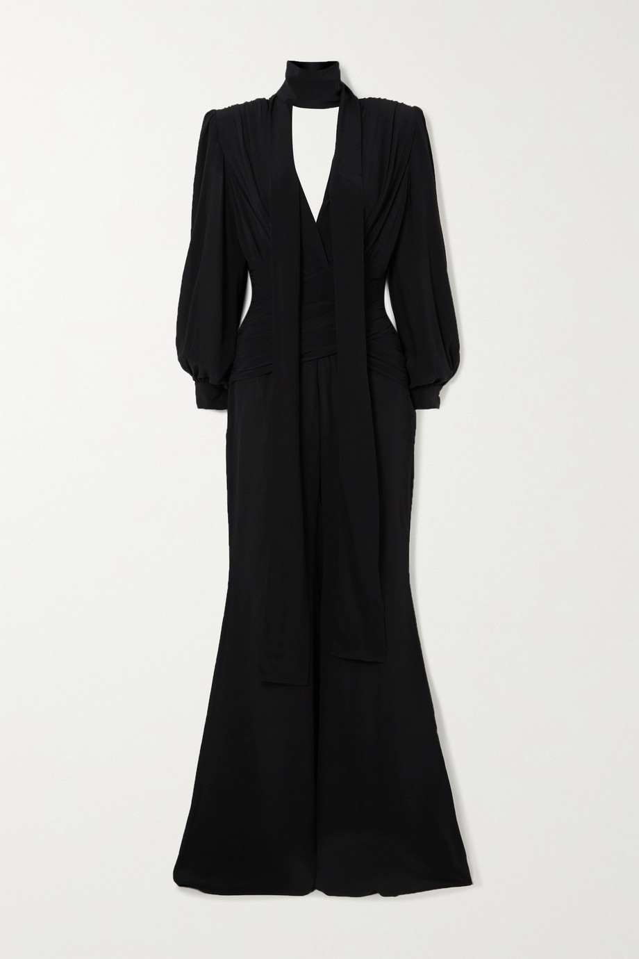 Redemption Pussy-bow ruched silk jumpsuit