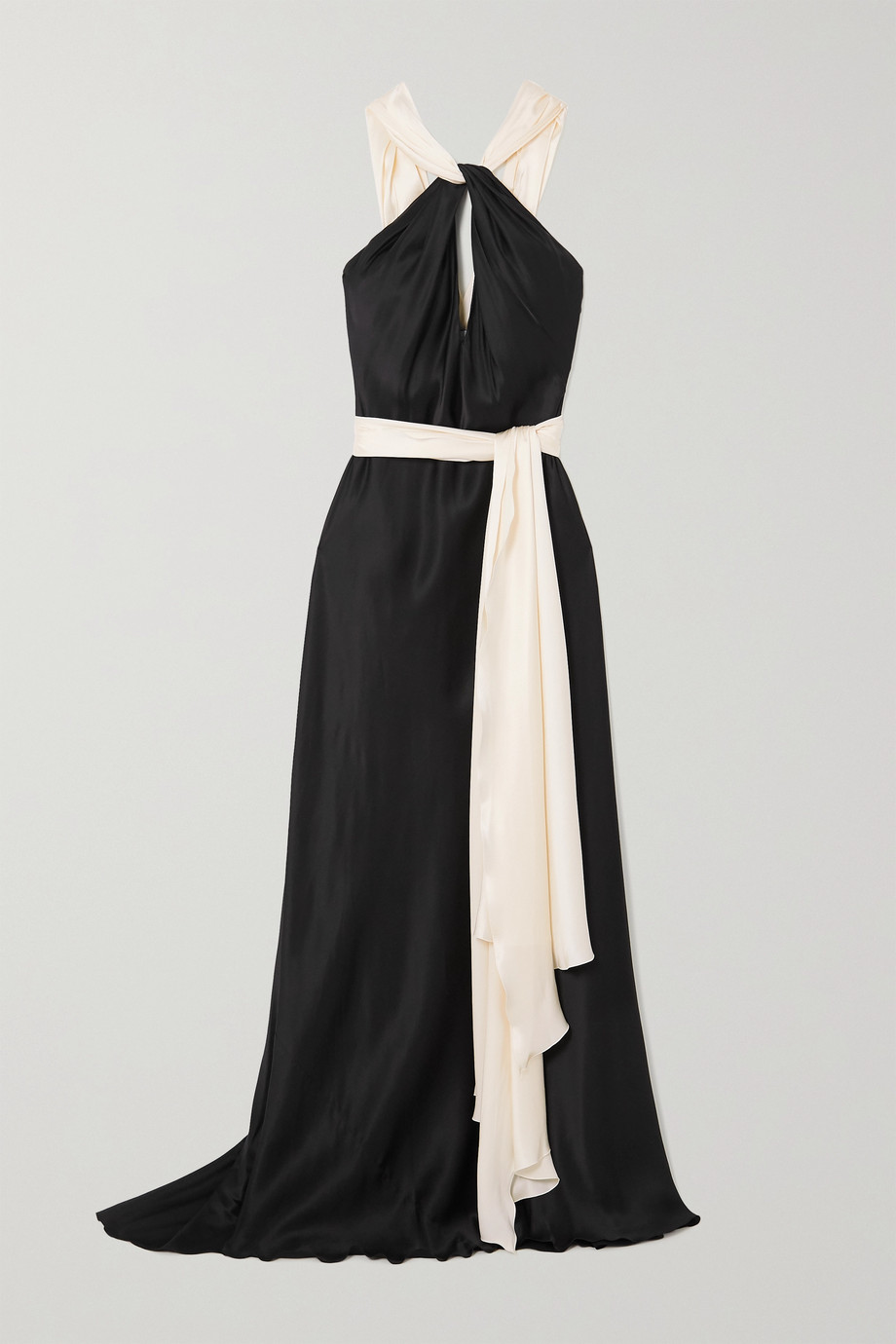 Redemption Zweifarbige Robe aus Seidensatin mit Cut-out und Bindegürtel