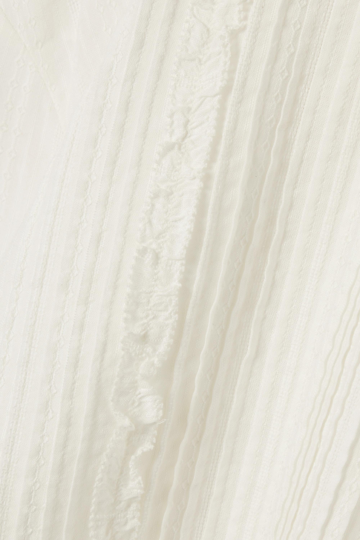 White Pretty Pintucked Embroidered Cotton-voile Blouse   Vanessa Bruno