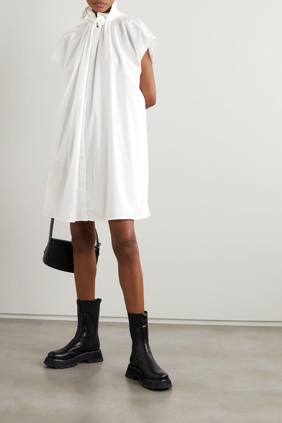 MM6 Maison Margiela Robe oversize en popeline de coton à fronces