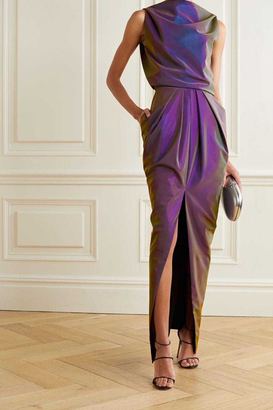 Maticevski Painterly drapierte Robe aus changierendem Satin mit Falten