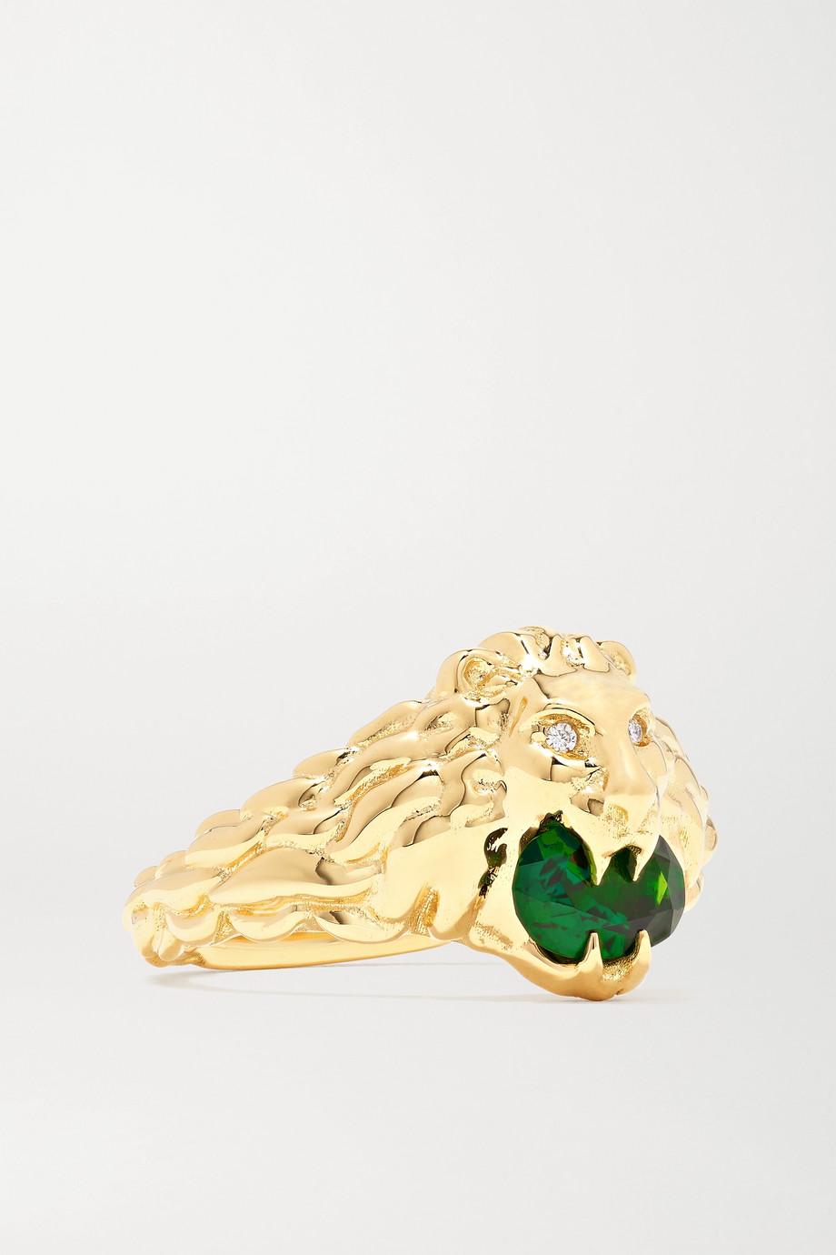 Gucci 18K 黄金、铬透辉石、钻石戒指
