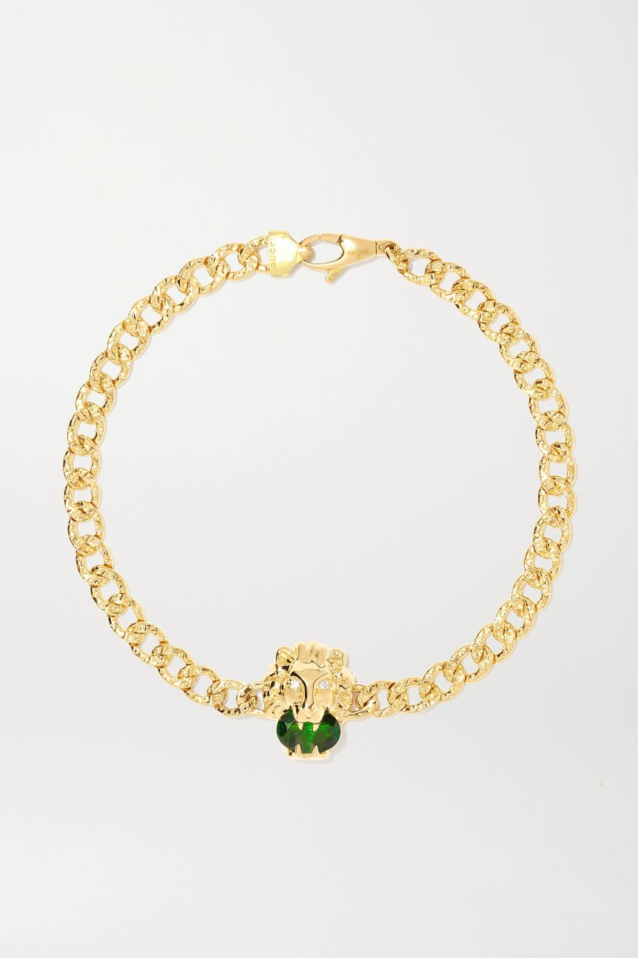Gucci 18-karat gold, chrome diopside and diamond bracelet