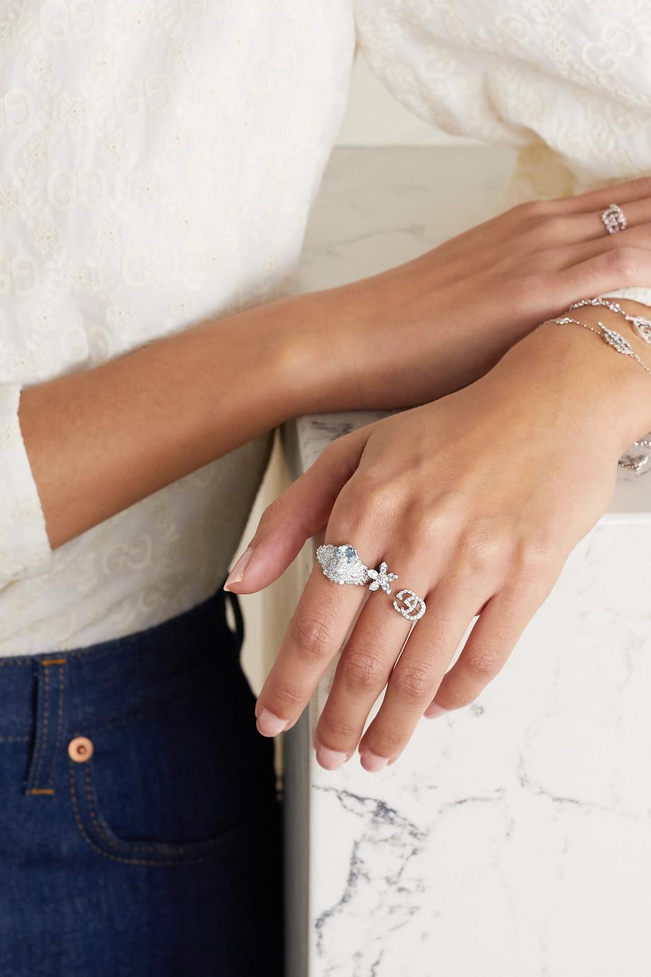 Gucci 18K 白金、钻石、海蓝宝石戒指