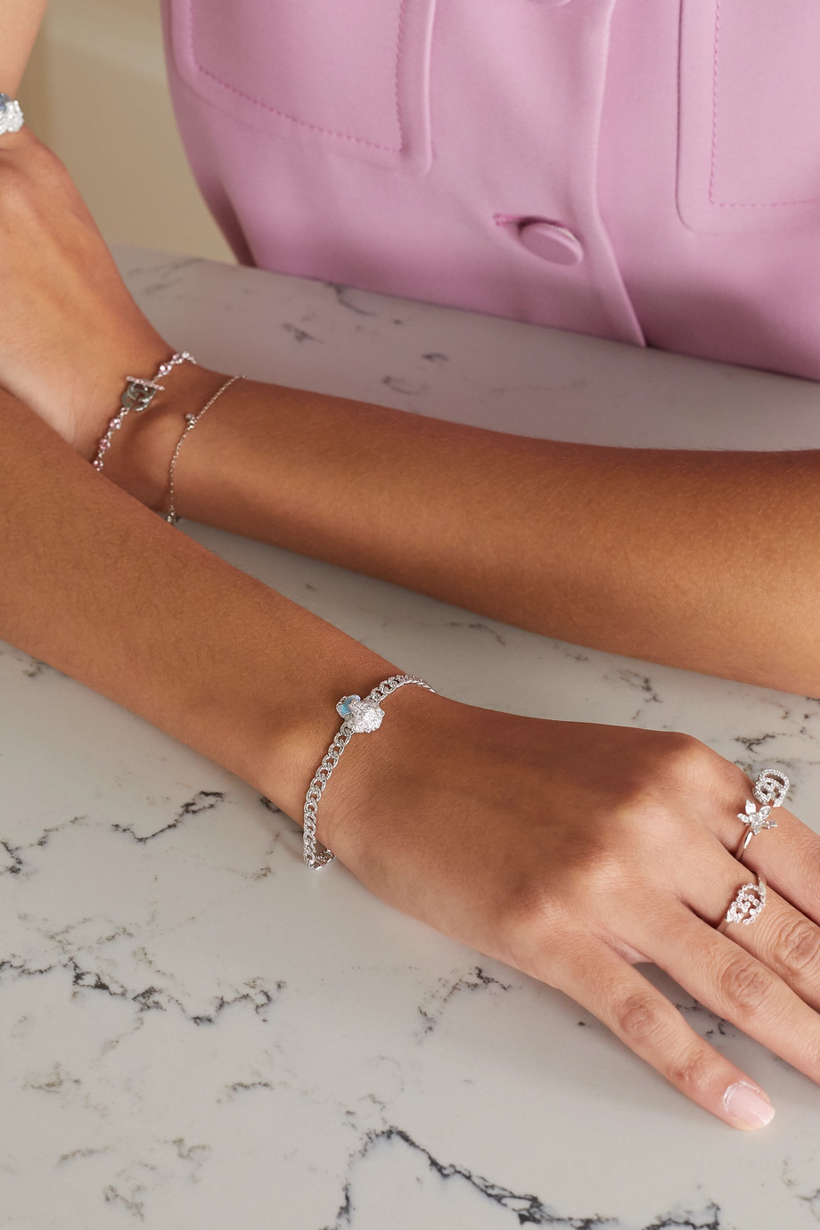 Gucci 18K 白金、钻石、海蓝宝石手链