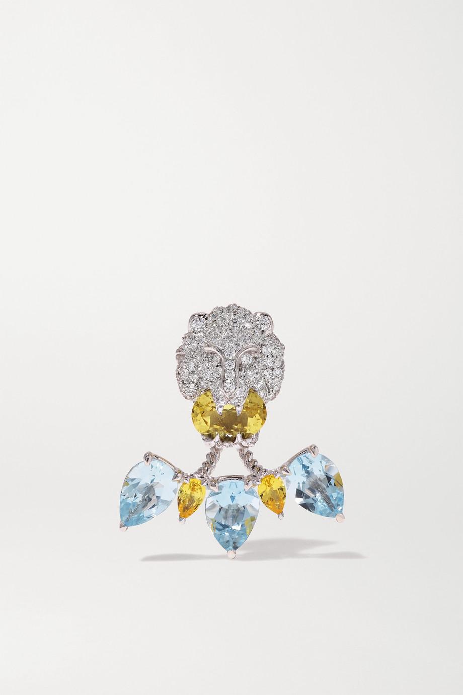 Gucci 18K 白金多种宝石单只耳环