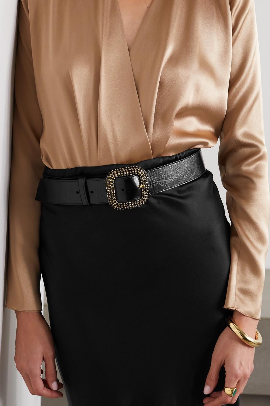 Kate Cate Spark crystal-embellished leather belt