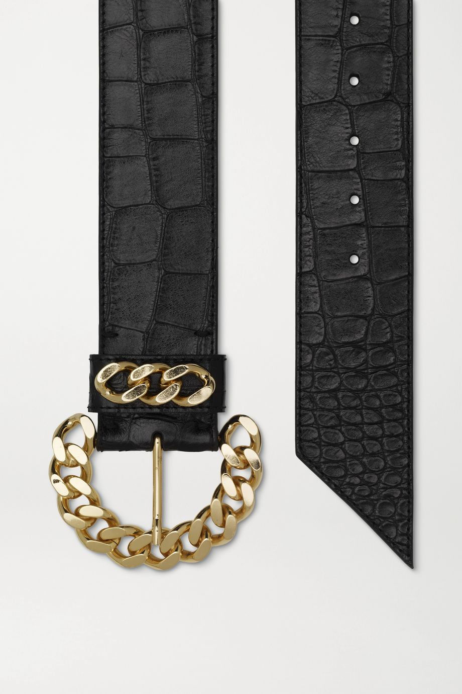 Kate Cate Chain-embellished croc-effect leather belt