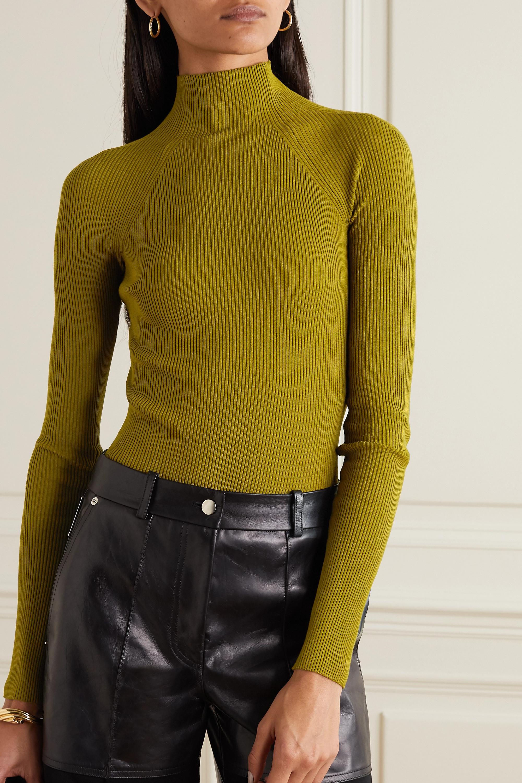 Army Green Cutout Ribbed-knit Bodysuit | Zeynep Arcay