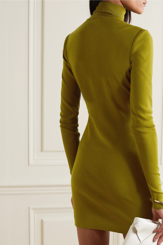 Zeynep Arçay Ruched ribbed-knit turtleneck mini dress