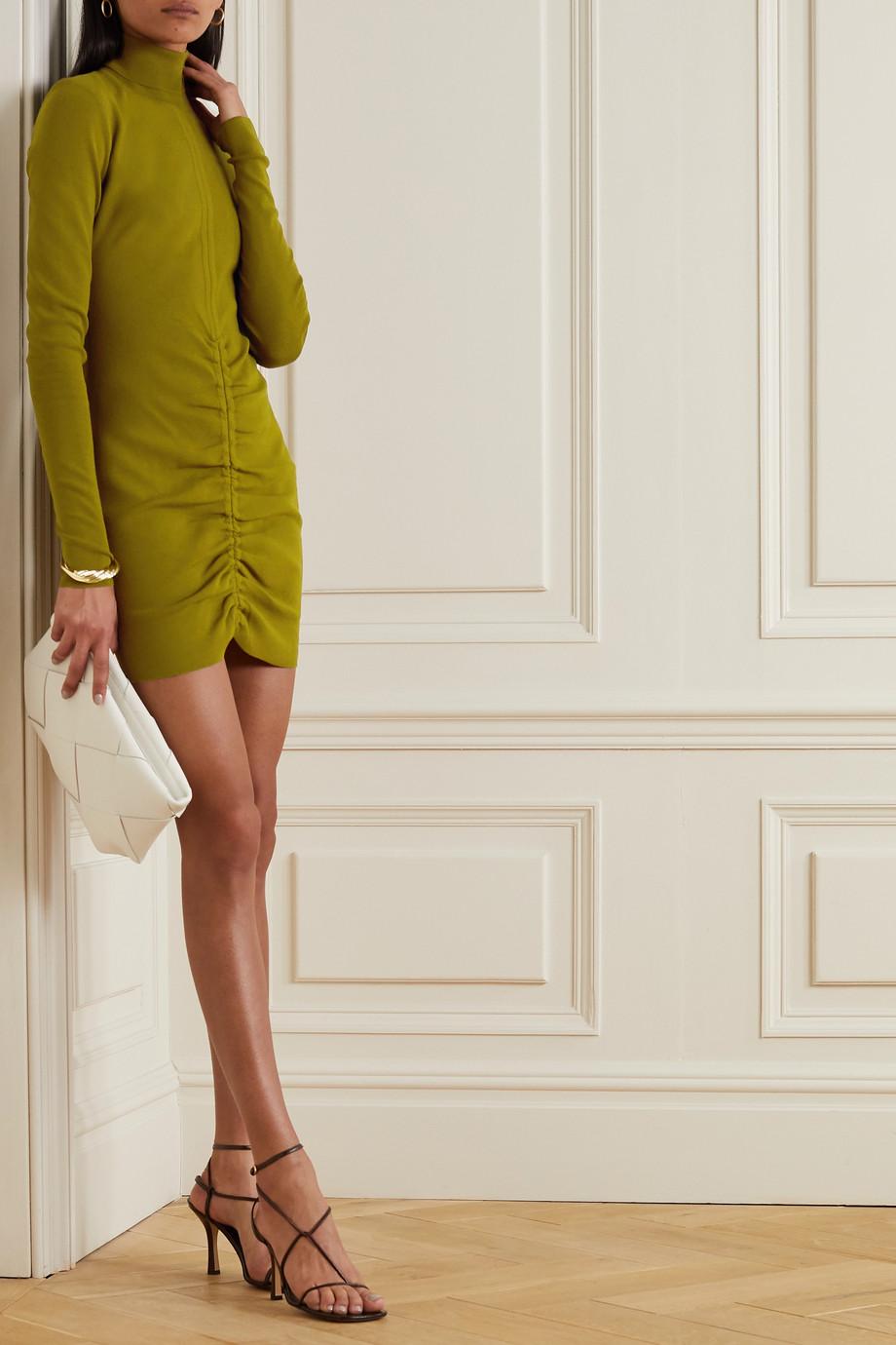 Zeynep Arcay Ruched ribbed-knit turtleneck mini dress