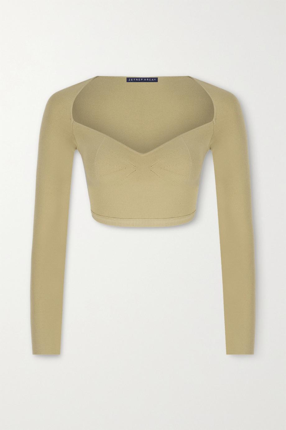 Zeynep Arcay Cropped stretch-knit top