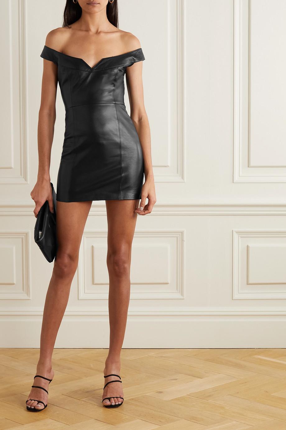 Zeynep Arcay Schulterfreies Minikleid aus Leder